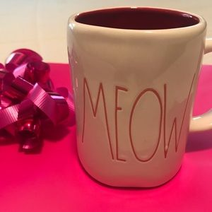 Rae Dunn MEOW Coffee Tea Mug Red Lettering